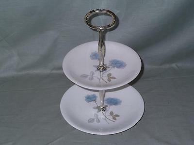 Wedgwood Ice Rose Bone China Small 2-Tier Biscuit Cake Plate Stand