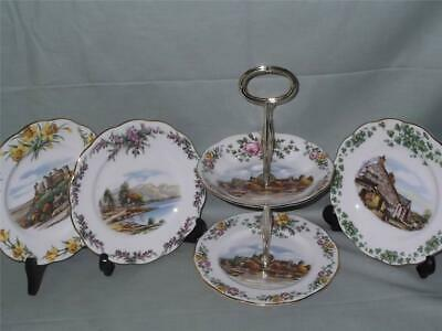 """1 Royal Albert Bone China Small 2-Tier Biscuit Cake Plate Stand """"British Songs"""""""