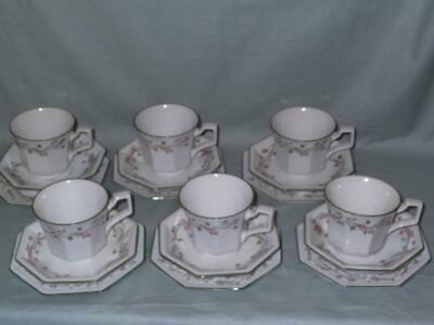 6 Johnson Brothers Eternal Beau Trios  Cups, Saucers & Side Plates
