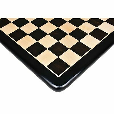 """19"""" Wooden Large Chess Board Black Ebony Wood & Maple with 2"""" Sq Hand Carved"""