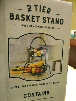 Two Tier Wrought Iron Basket Stand Removable Baskets for Kitchen or Bathroom New