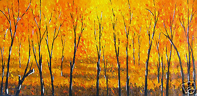 Tree's In Forest Petals Flower Landscape original art Painting hand painted
