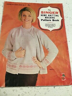 Singer Home Knitting Machine Pattern Book No 1  vintage Toddlers Children Adults