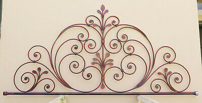 Headboard Bed Header for Double Bed Wrought Iron a Tail Peacock Vintage 14