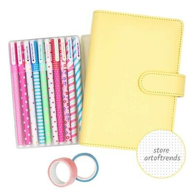 A6 Yellow Leather Sprial Bullet Journal Dotted Notebook with Bujo Starter Kit
