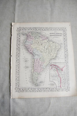 1866 Original Antique Map of South America, S. Augustus Mitchell, Hand Colored