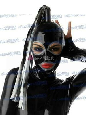 100% Latex Rubber Gummi Mask Hood 0.8mm With Tail Catsuit Bodysuit Party Costume