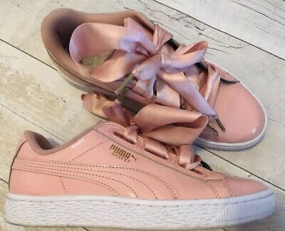 Puma Size 3uk Peach Patent Leather Trainers Womens Girls Vgc Original