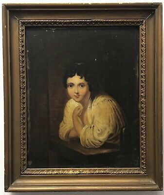 18th/19th Century antique oil painting oak panel portrait study of a young lady