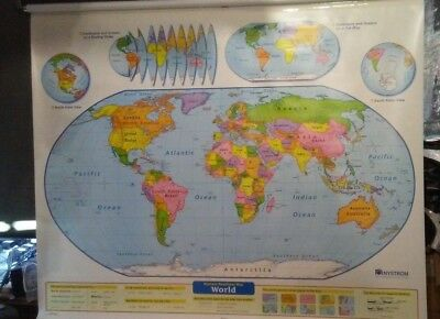 Nystrom Pull Down World Map & Usa School Vtg Classroom 2 In 1 Map 65W x 55H