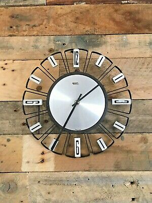 Mid Century Modern 60'S 70'S Mauthe Of Germany Metal Wall Clock Retro Vintage