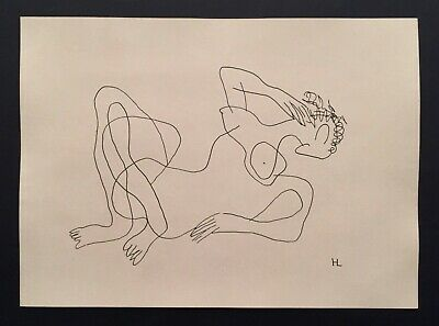 Ink Drawing, Abstract Woman, Cubist, Picasso era, HL (Henri Laurens)