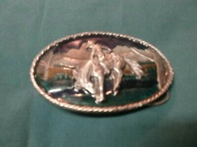 The Great American Buckle Co.  1981 Cowboy on Horse buckle. Used, classic !!