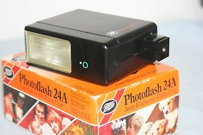 Boots Photoflash 24A Shoe Mount Electronic Flash +Box, Instructions - Good Cond.