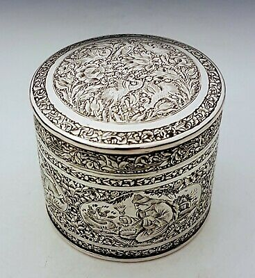 FINEST RARE Antique Persian Qajar Islamic Middle Eastern Solid Silver Box 119g