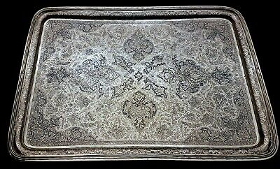 FINEST Antique Persian Islamic Solid Silver Tray 1070g Signed Haji Abdullah
