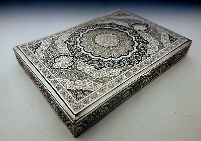 Huge Fine Antique Persian Middle Eastern Islamic Solid Low Grade Silver Box 812g