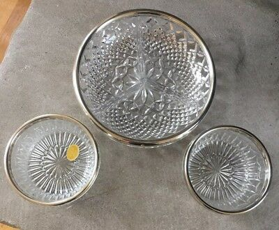 Crystal Serving Bowls Dishes with Silver Plated Rim