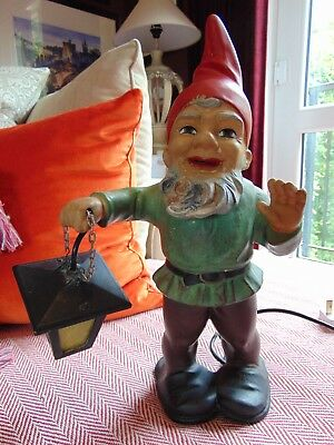 VINTAGE RARE c1950s-60s Heissner West German Garden Gnome Table Lamp