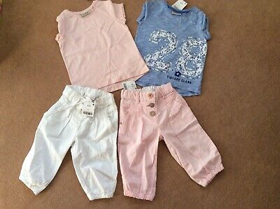 Next Girls Summer Bundle Cropped Lined Trousers T Shirts 18-24 months BNWT