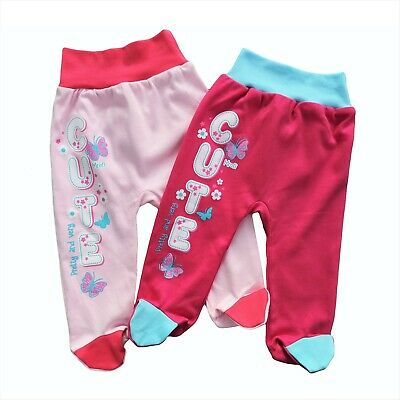 BNWT Baby Infant Girls Trousers with feet 100% Cotton 3-6/9-12/12-18 Months