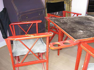 VINTAGE c1930s Mahjong Games Red Chinoiserie Chinese Table & Matching 4 x Chairs