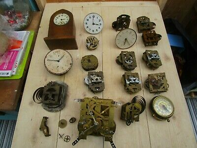 Job Lot Of 15+ Small Mantel Clock Movements For Spares Or Repair