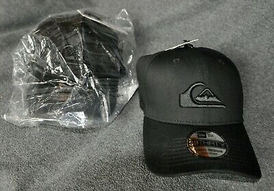 c8e19389320 TWO -Quiksilver Mens New Era 39 Thirty Hat Embroidered Fitted Stretch Black  -NEW