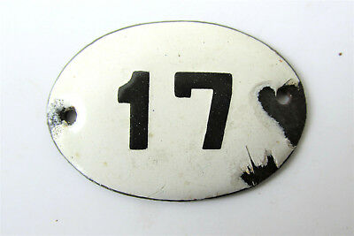 Old Vintage Antique Enamel Porcelain Sign House Number 17