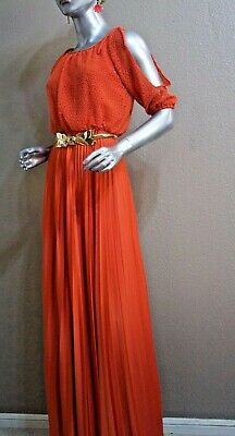~Vintage 60s  Mod Pleated Maxi Disco Party Cocktail Resort Pool Maxi Dress  9/10