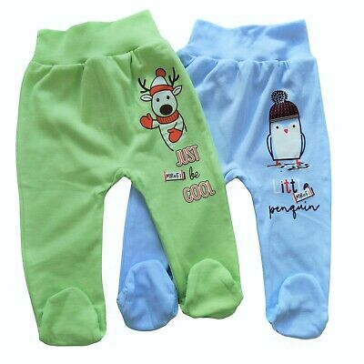 Baby Infant Boys Trousers with feet Pands100% Cotton 3-6/6-9/9-12 Months