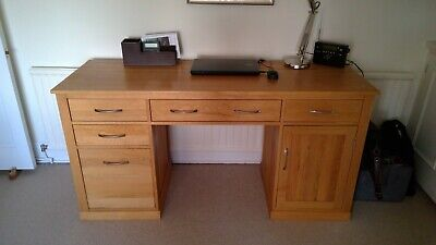Solid Oak Desk with filing drawer, computer cupboard and keyboard drawer