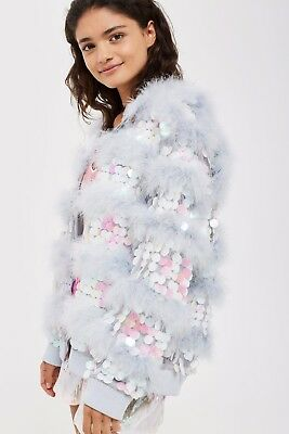 99c43195ed8 ICONIC BNWOT S Topshop Marabou Feather Sequin Fluffy Fur Jacket Coat ...