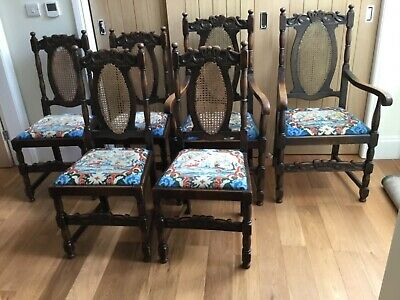 6 Antique oak cane-backed dining chairs (Edwardian?) Solid and comfortable