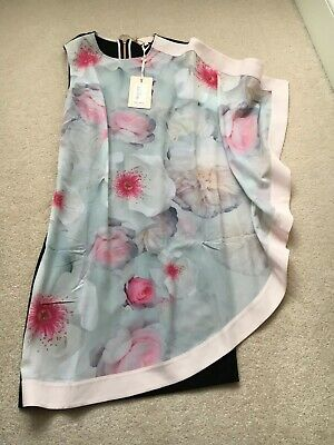1d43a67131ab Ted Baker Chelsea Double Later Pink Black Grey Purple Dress Size 0 Sz 6  BNWTs