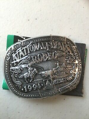 Vintage Belt Buckle Hesston Roping Small National Finals Rodeo 1992 w/Pamphlet
