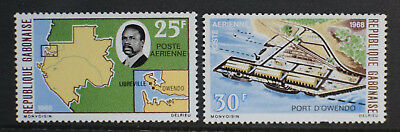 Gabon 1968 Air. Laying of First Stone, Owendo Port. MNH Pair