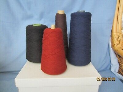 Job lot 4 cones of 2 ply machine knitting wool yarn black blue brown acrylic