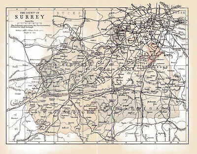 An enlarged map of The County of Surrey, England, Original dated1882.