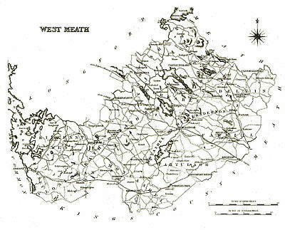 Large map of County West Meath, Ireland, C1840.