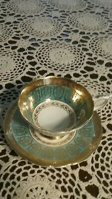 Royal Stafford England Cup.Saucer Gold & Green Teal China