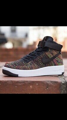 Nike Air Force one AF1 Ultra Flyknit Mid Multi color White Gold Strap 817420 700