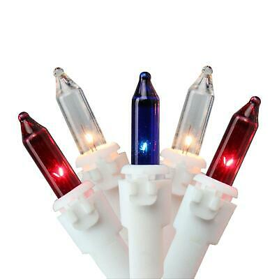 Patriotic 50-Count Red, White, Blue 4th of July Mini Light Set, 10ft White Wirew