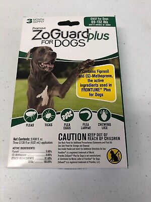 ZoGuard Plus Flea and Tick Treatment for Dogs 89-132 lbs 3 Month Supply