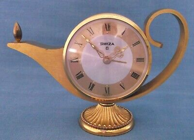 Vintage Swiza 8 Day Genie Lamp Alarm Clock Complete Fully Working Swiss Made