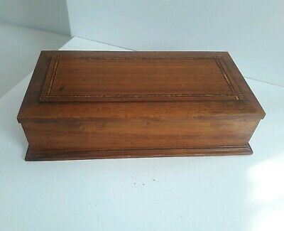 Vintage Wooden Box with Inlay & Long Hinge