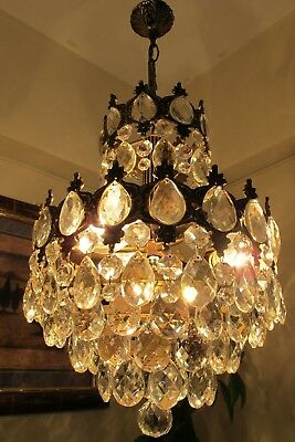 Antique Vintage French Basket Style Crystal Chandelier Lamp Light 1940's.12 in..