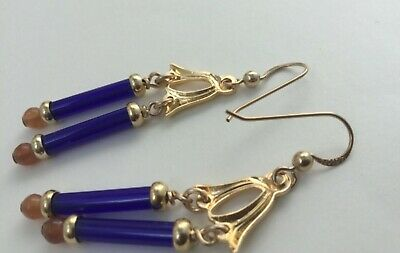 Stylish Vintage 14ct Gold Fill Art Deco Style Blue Glass Earrings