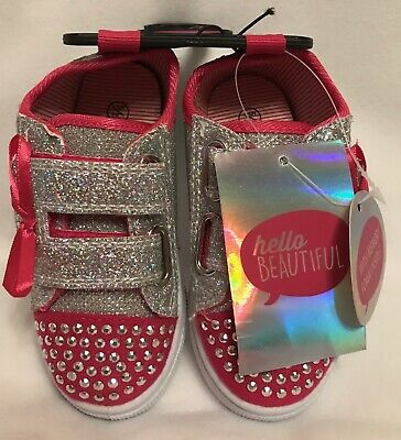 Girls - Canvas Shoes/Pumps - Diamonte - Pink & Silver - Size 7 - Brand New