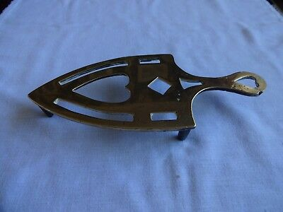 Antique Solid Brass Trivet For A Smoothing Iron Length 9.5""
